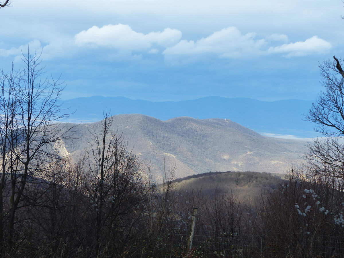 Egy másik kilátás a Szent Mihály-hegyre és a Hegyes-kőre. Ezt a két hegyet kerüli meg a Duna hatalmas ívben.