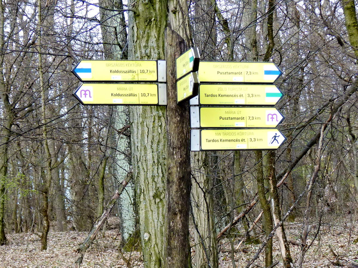 Bicskanyitogató útirányjelző nyilak az Országos Kéktúra útvonalán