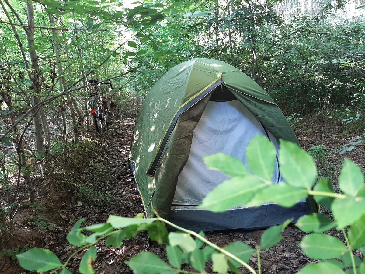 Sátorozás a Nagyrévi komp közelében az erdőben