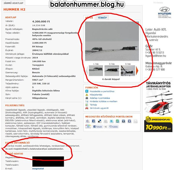 Eladó Hummer H2 - Az autó megtekinthető a balatonakarattyai szabadstrandon.