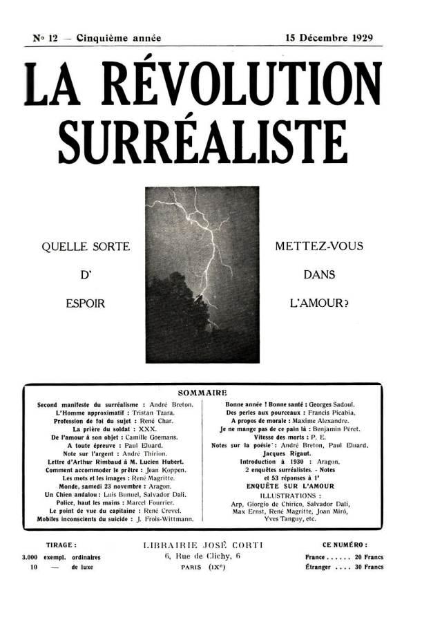 Title page for La Révolution surrealiste, December 1, 1924