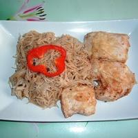 Parmezános csirkemell üvegtésztával