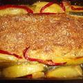Tepsis pulykacsík zöldségekkel együtt sütve.
