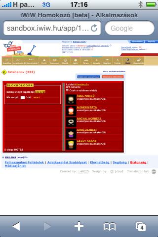 iWiW Homokozó - Sztahanov alkalmazás