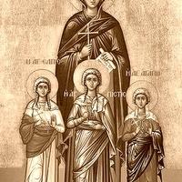 """""""Bevádolják őket Hadrianus előtt, akit szépségük annyira megragadott, hogy leányaivá akarta őket fogadni, ők azonban, mint a ganéjtól irtóztak tőle."""" (Bölcsesség: Hit, Remény és Szeretet)"""