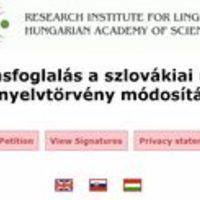 Petíció a szlovák nyelvtörvény ellen