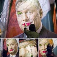 Magyarország miniszterelnöke, puszi Orbán Viktor plakát