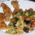 Szezámmagos csirkecsíkok kínai zöldséggel