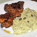 Tökmagos krumplipüré, sült csirkecomb