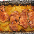 Tepsis csirkecomb kétféle krumplival