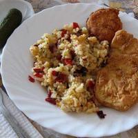 Lisztbundás csirkemell paprikás rizzsel