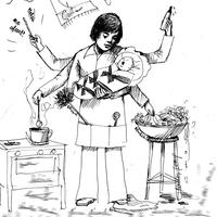 Egy dolgozó nő gyerekkel