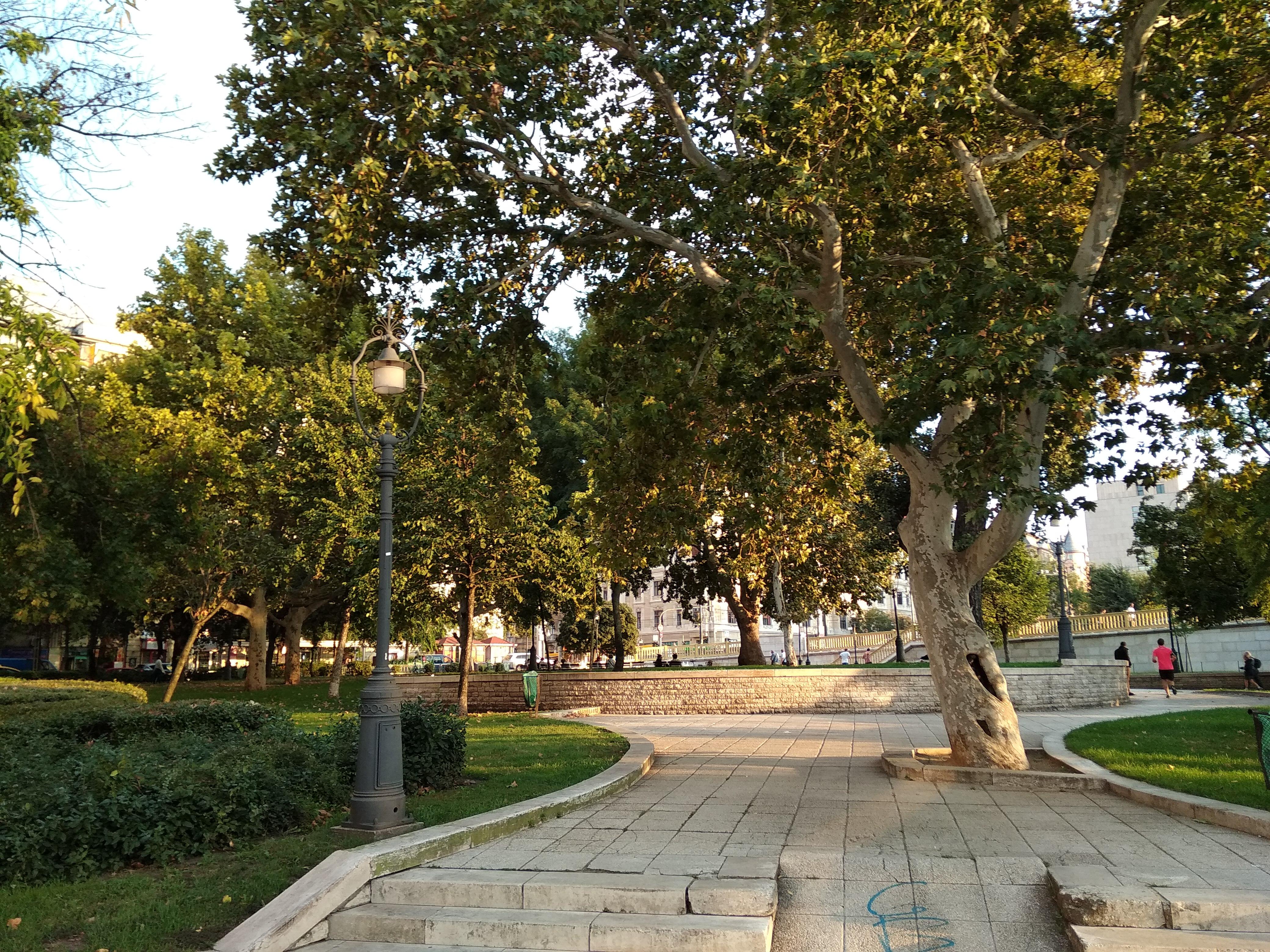 A Jászai Mari tér az Újpesti rakpart felől fényképezve. Elüldögélnék egy picit a fák alatt. De van erre idő manapság? Te ráérsz ilyesmire?<br />A szerző felvétele