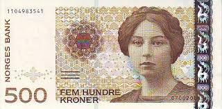 Sigrid Undset a norvég 500 koronáson. Kijön belőle egy üveg Jim Beam, meg egy tank benzin is. Undset Nobel-díjas írónő.