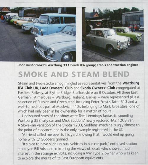 Wartburgok és gőzatók a Classic & Sports Car-ban
