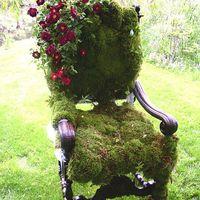 Különleges kültéri dekoráció: mohával bevont szék