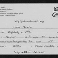 Zsidai Ferenc emlékére