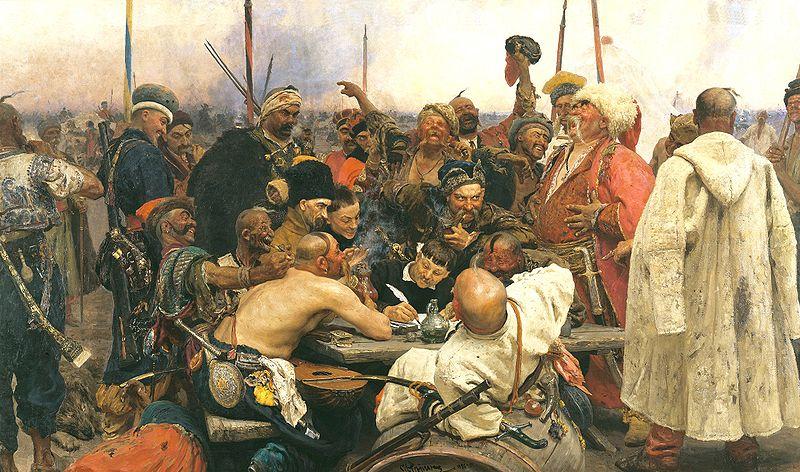 Ilja Repin - A zaporozsjei kozákok levelet írnak.jpg