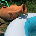 DIY amfora csobogó kerti medencéhez, vízszűrővel, vízmelegítővel, időzítővel