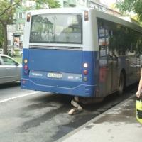 Leszakadt egy Volvo busz kipufogója