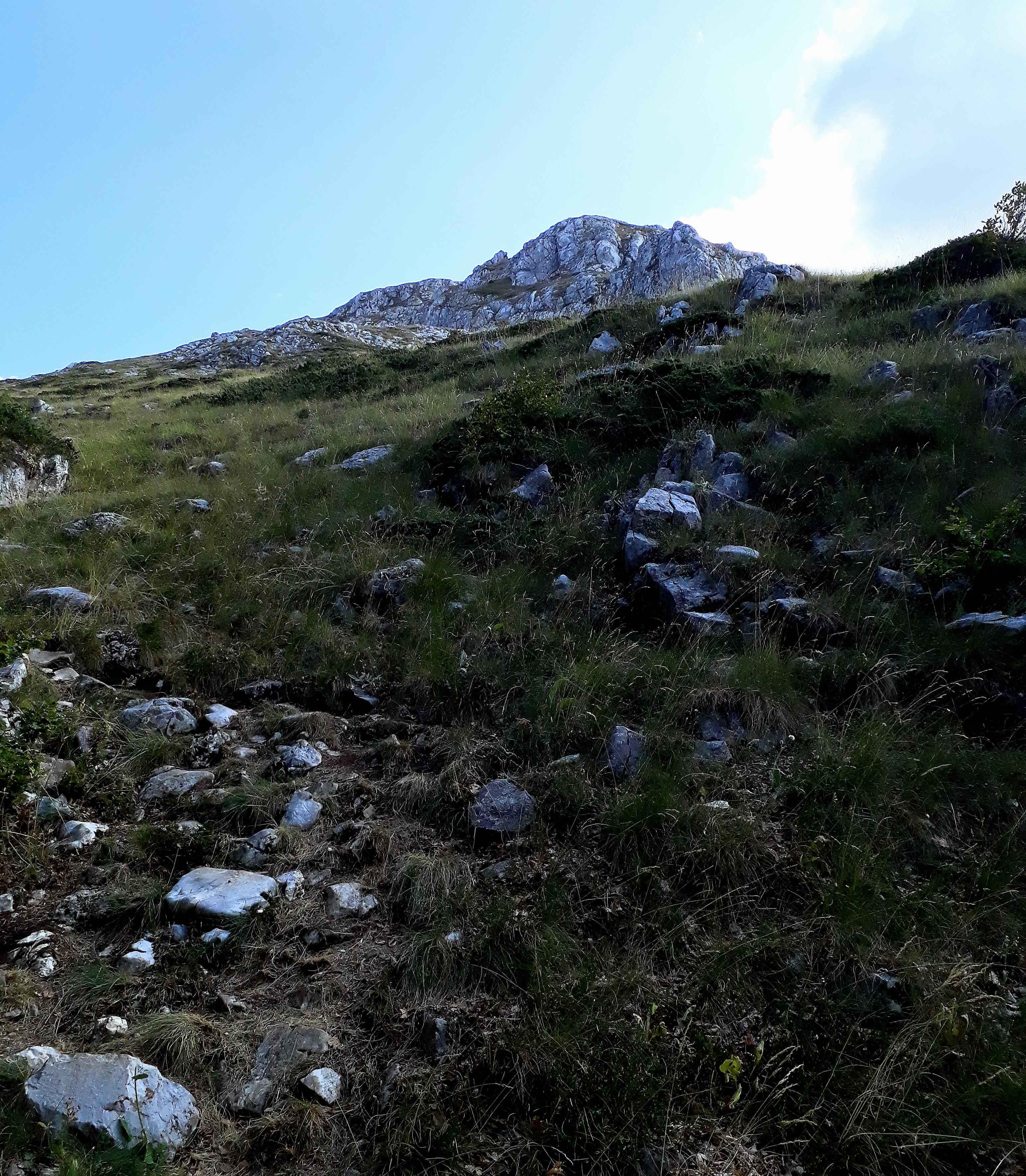 Majd kiér az erdőből, és kezdődik a neheze. Nagyon meredek köves ösvényen juthatunk fel a csúcsig.
