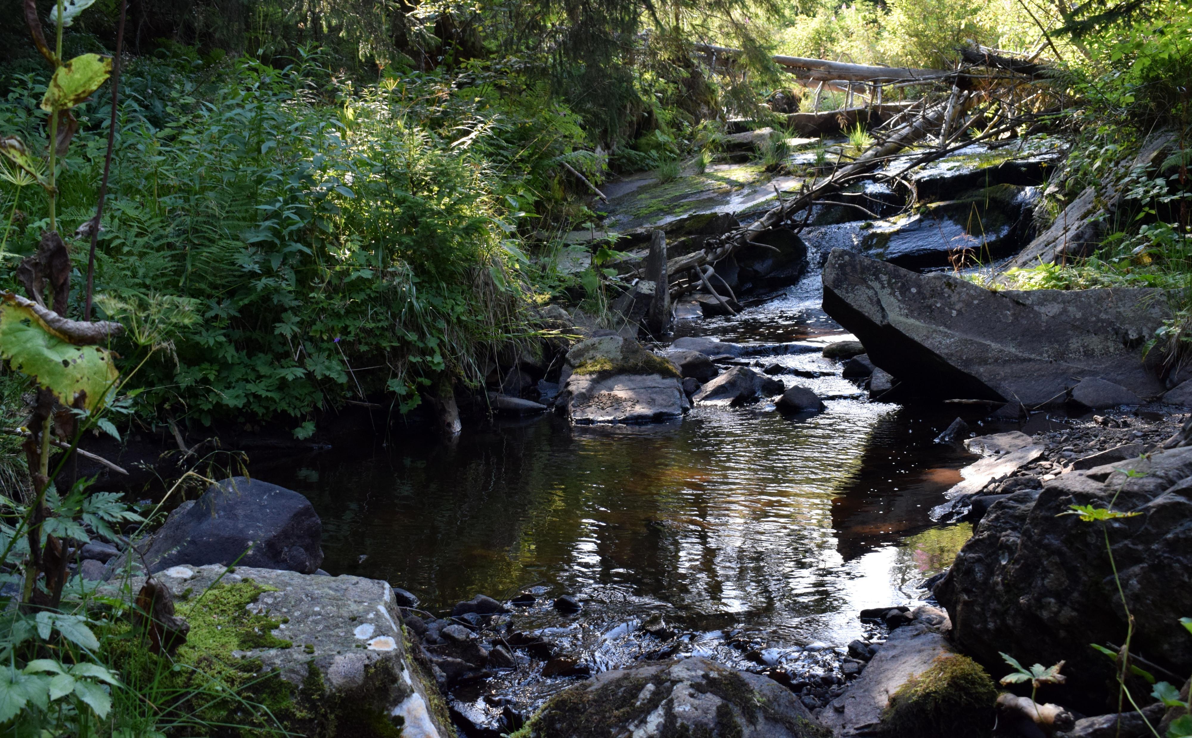 A patakban is amelyikből a vízesés lesz rengeteg kisebb, nagyobb kő található. Így sok helyen szűkül, vagy tó alakul ki.