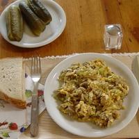 Sárga laskagombás tojás reggelire