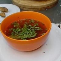 Ebéd: zöldborsóleves, csirkecombfilé krumplikkal