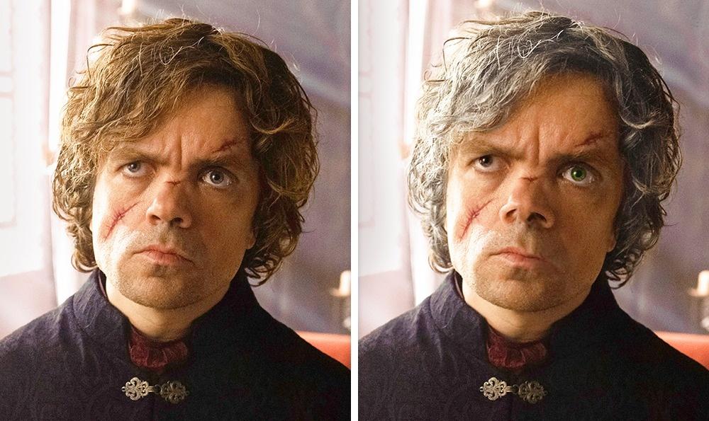Tyrion Lannister: Ő az a Lannister, akinek nem arany haja van, hanem ezüstös szürke és felemás szeme. Az egyik barna, a másik kék. Plusz a feketevizi csata óra orra sincs, de ilyen képet nem találtam