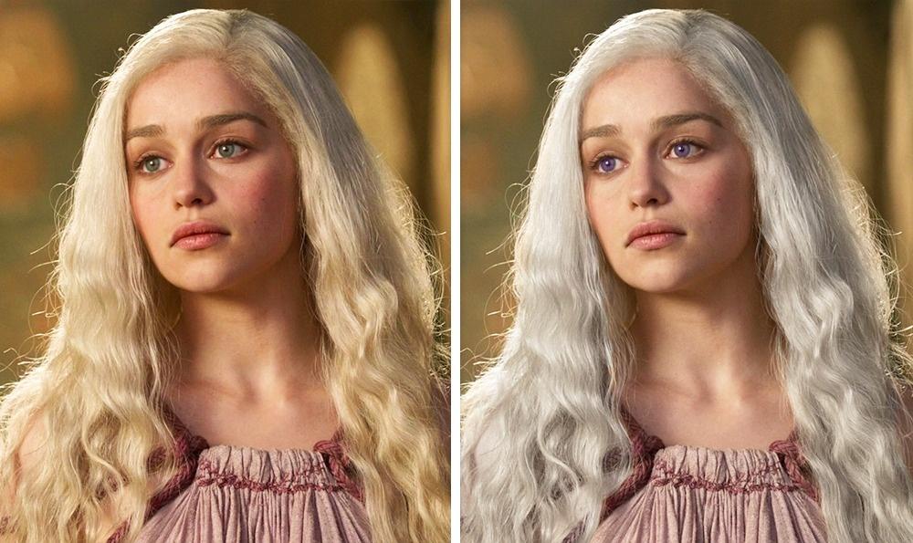 Daenerys Targaryen: Fehérebb haj és lila szemek<br />