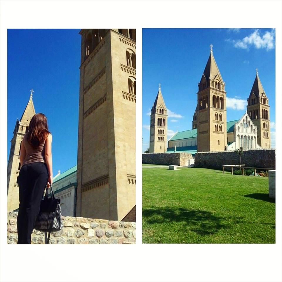 Pécsi Bazilika a várfalon sétálva
