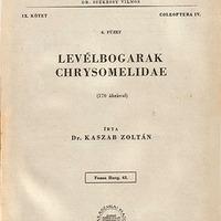 Kaszab Zoltán: Levélbogarak – Chrysomelidae. Magyarország Állatvilága (Fauna Hungariae), 63., IX. 6.