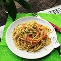 Medvehagymás-lazacos-3 sajtos spagetti