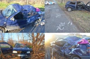 BENYOMVA ÉS JOGSI NÉLKÜL VEZETETT:  A győri férfi utasa súlyos sérülést szenvedett a balesetben