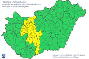 Sárga veszélyjelzés az Országos Meteorológiai Intézettől, Tatabányát is érinti!