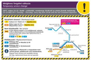 FIGYELEM! A 3-as és a 28A villamos rövidített útvonalon jár, a 62A pedig nem közlekedik május 23-án, 24-én és 25-én este