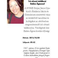 Meghívó - Író-olvasó találkozó Balázs Ágnessel