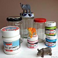Festett állatfigurás tárolók befőttes üvegekből