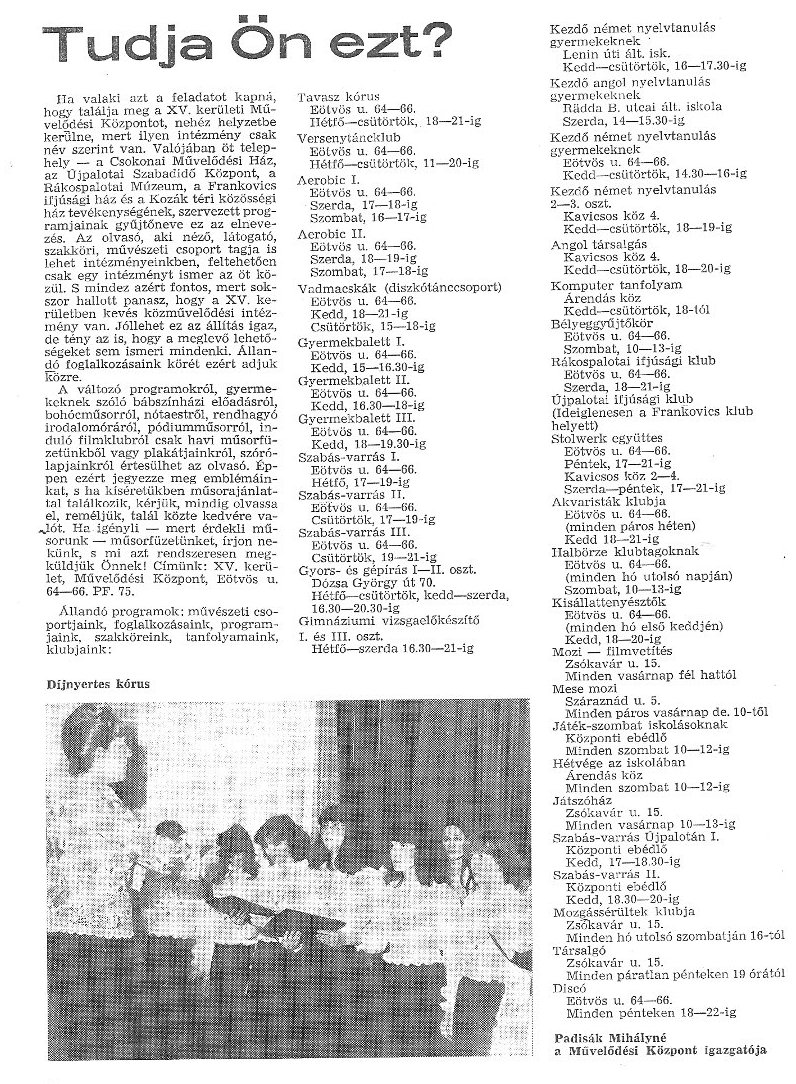 A Csokonai programkínálata 1983-ból