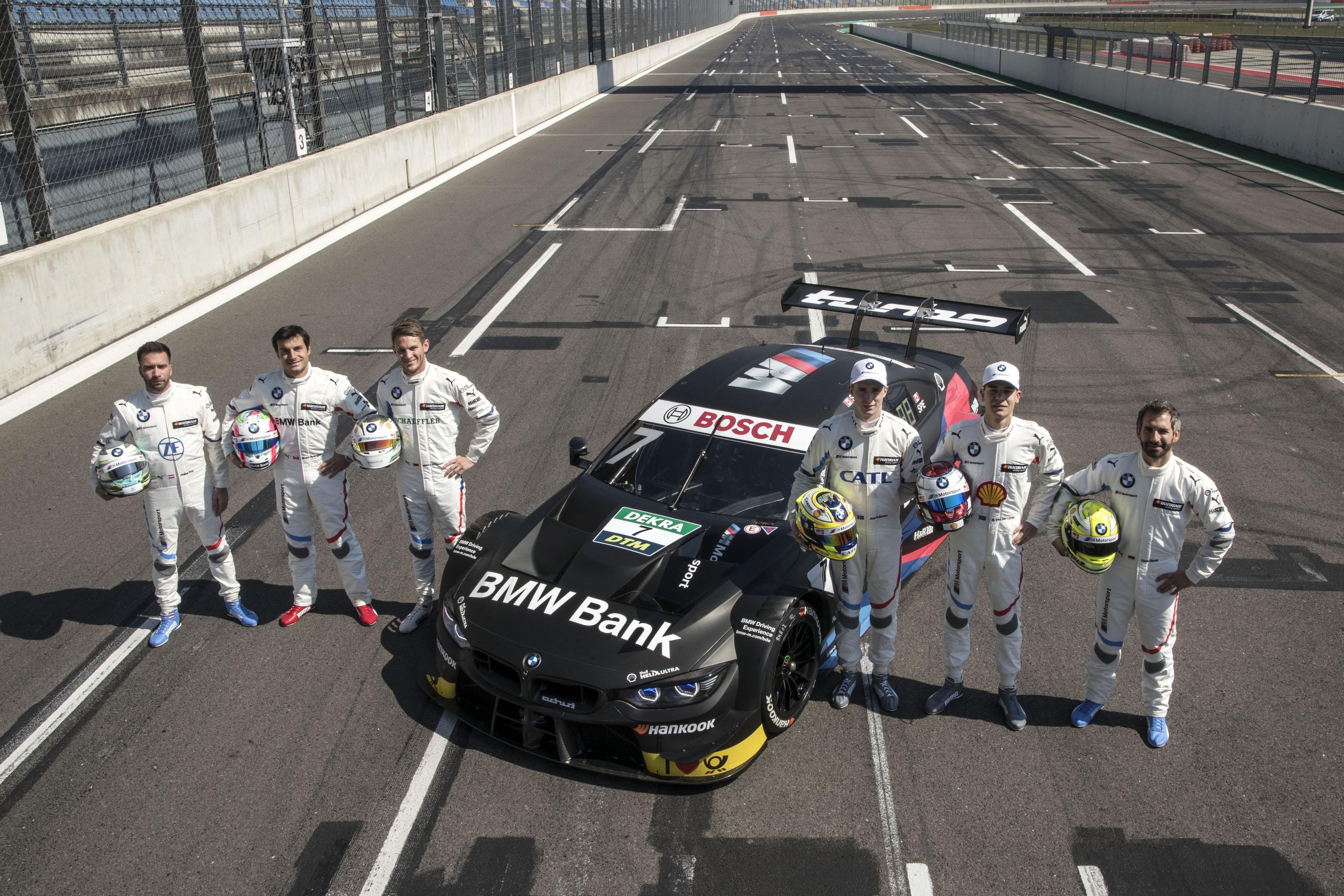 BMW<br />• BMW Motorsport Team RBM: Philipp Eng (#25, osztrák), Sheldon van der Linde (#31, dél-afrikai), Joel Eriksson (#47, svéd)<br />• BMW Motorsport Team RMG: Bruno Spengler (#7, kanadai), Marco Wittmann (#11, német), Timo Glock (#16, német)