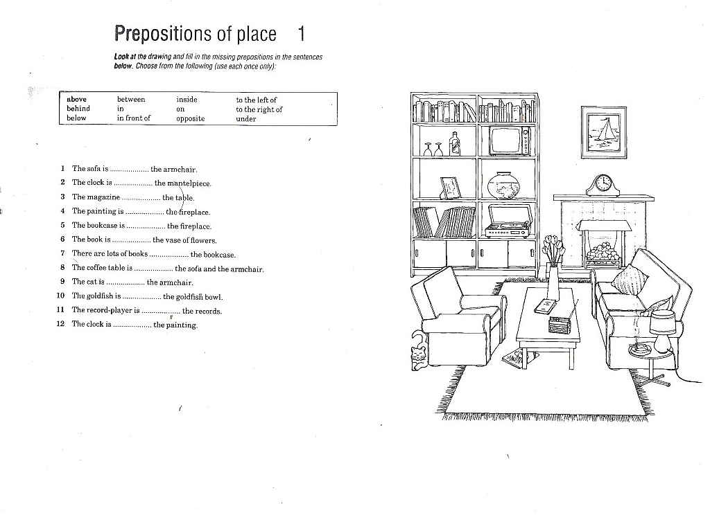 Prepositions of Place exercises pdf