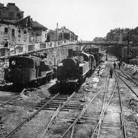 A Déli Pályaudvar bejárati váltókörzete a második világháborús ostrom után, 1945-ben