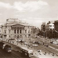 A Blaha Lujza tér és a régi Nemzeti Színház a 60-as évek elején
