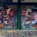 Nychos és Shue a bécsi Naschmarkt piacon festettek