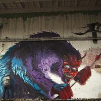 Fat Heat új falfestménye Budapesten - Busójárás