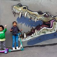 Nychos alligátor falfestménye Párizsban