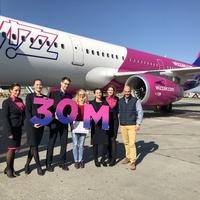 Már 30 millió utast szolgált ki a Wizz Air Magyarországon!