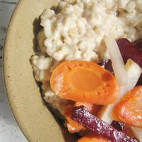 Árpagyöngyrizottó sült zöldségekkel