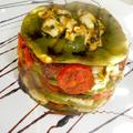 Zöldfűszeres lasagne kecske fetával, paradicsommal