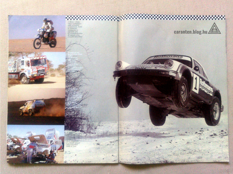 Az Autó Magazin képes beszámolója az 1990-es, még valódi Párizs-Dakar raliról, repülő Rothmans Porschéval.